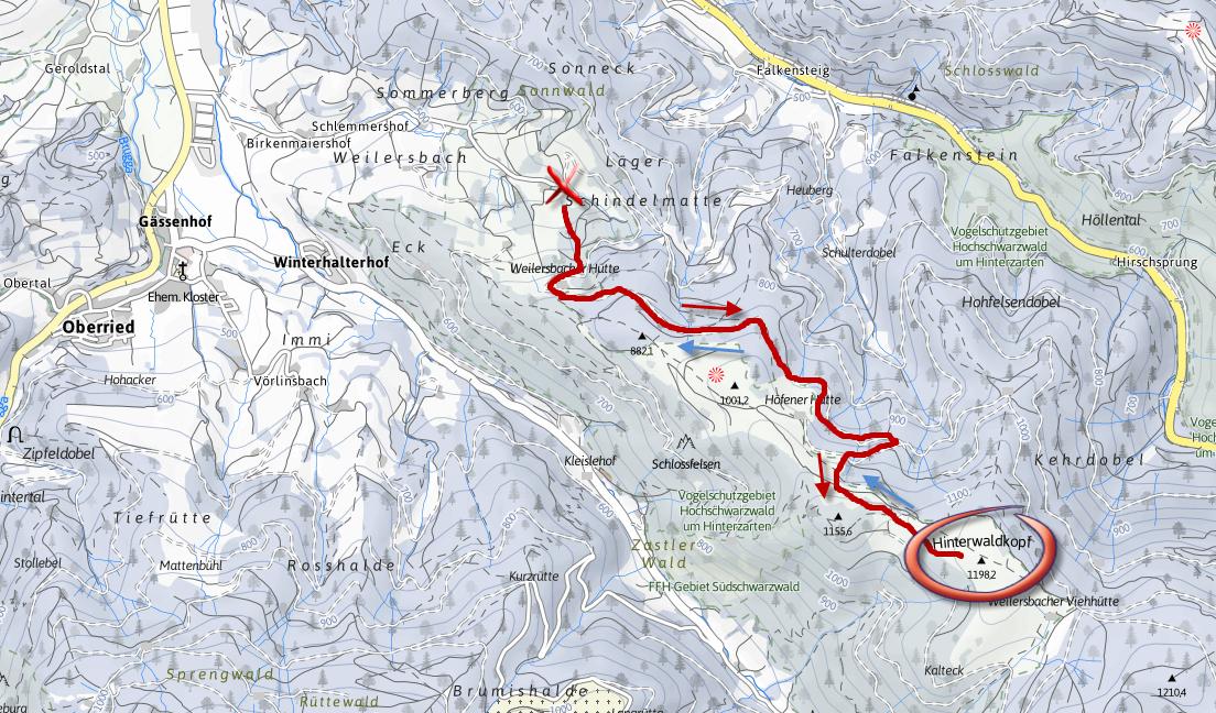 Hinterwaldkopf térkép