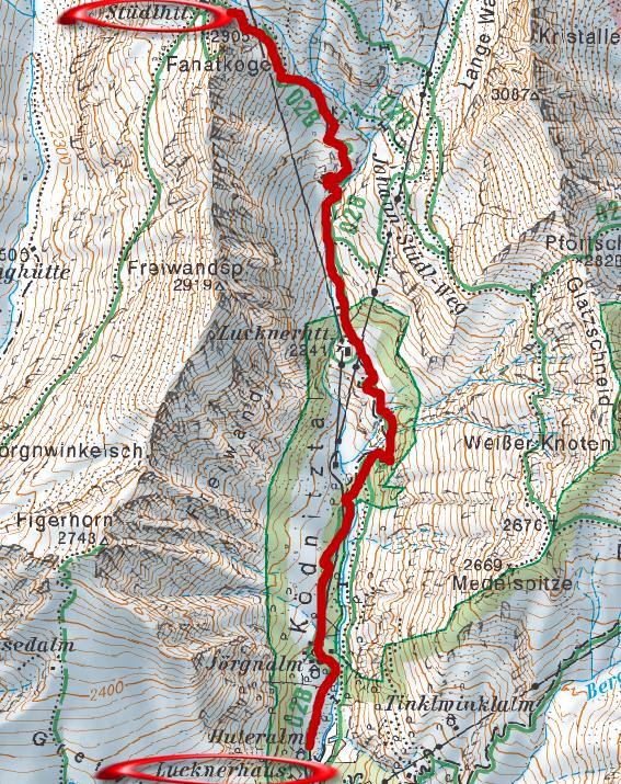 Lucknerhaus - Stüdlhütte térkép