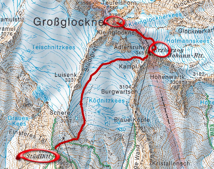Stüdlhütte - Grossglockner térkép